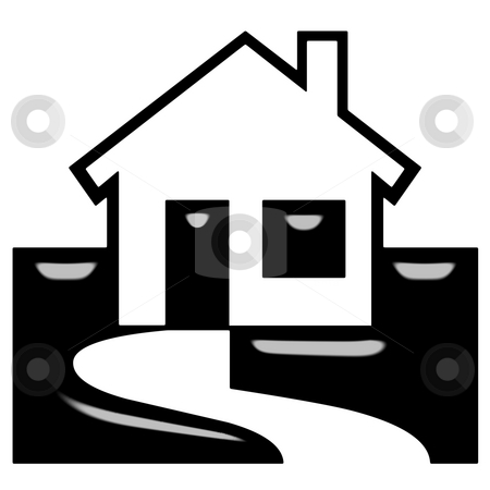 3D House stock photo, 3d house silhouette isolated in white by Georgios Kollidas