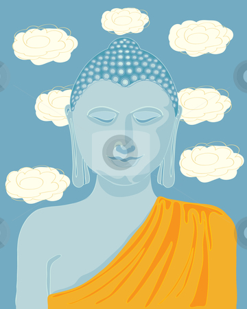 Buddha face stock vector clipart, A hand drawn illustration of buddha with orange robes and lotus flowers in the background by Mike Smith