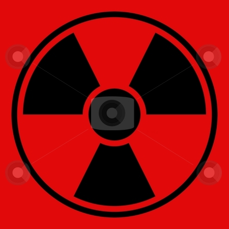Radiation Warning Sign stock photo, Round radiation warning sign on red background by Henrik Lehnerer
