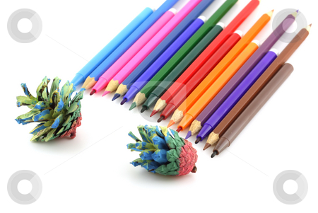 Color pencils and felt-tip pen with forest cones. Shallow DOF. stock photo, Color pencils and felt-tip pen with forest cones. Shallow DOF. by Sergei Devyatkin
