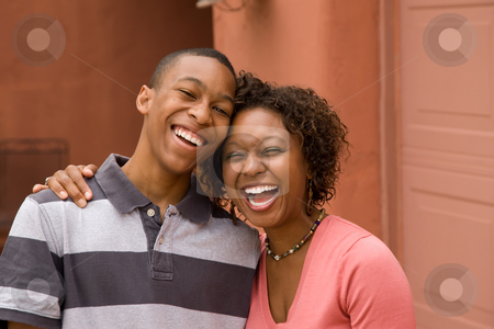 African-American single-parent family stock photo, Happy Single-parent mom and son with copy space by Scott Griessel