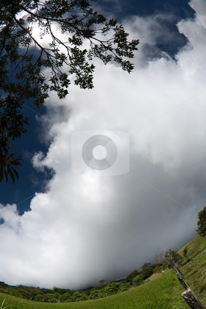 Clouds rolling in over Costa Rican horizon stock photo, Fisheye shot of Clouds rolling in over Costa Rican horizon by Scott Griessel