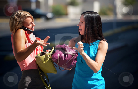 Pretty women having and animated conversation stock photo, Two women use cell phone to find the way to go. by Scott Griessel