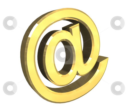 Email symbol in gold (3d)  stock photo, Email symbol in gold (3d made) by Fabrizio Zanier