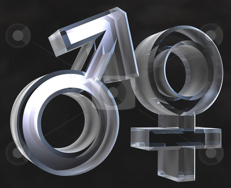 Male and female sex symbols Male and female sex symbols (3D) stock photo,