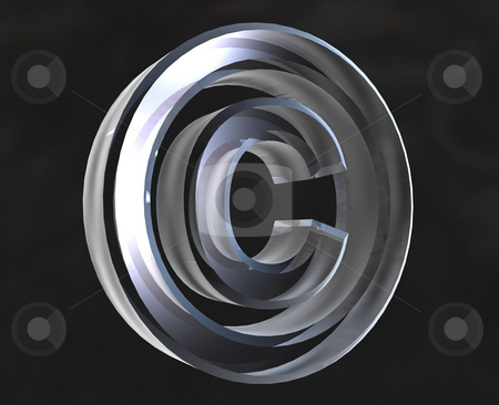 Copyright symbol in transparent glass (3d) stock photo, Copyright symbol in transparent glass (3d made) by Fabrizio Zanier