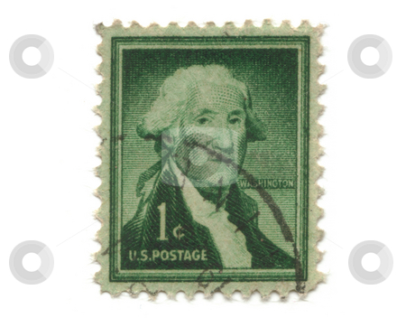 Old postage stamp from USA one cent  stock photo, Old postage stamp from USA one cent - George Washington by Fabrizio Zanier