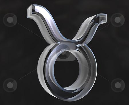 Taurus astrology symbol in transparent glass (3d)
