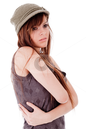 Half length of a fashion lady folding hands stock photo, Half length of a fashion lady folding hands on a white background by Get4net