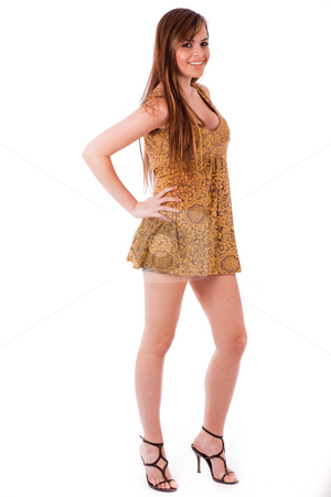 Young girl posing with a gown stock photo, Young girl posing with a gown on a white isolated background by Get4net