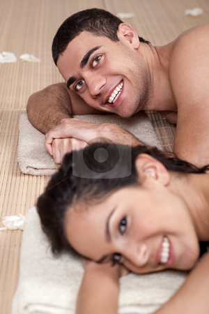 Closeup portrait of a romantic couple on a spa holiday stock photo, Closeup portrait of a romantic couple on a spa holiday by Get4net