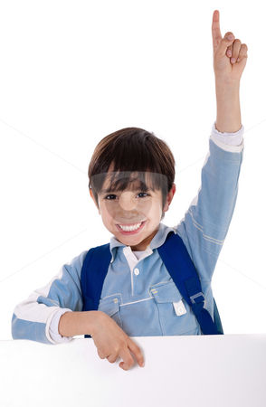 Elementary school kid raising his hand stock photo, Elementary school kid raising his hand on isolated white background by Get4net