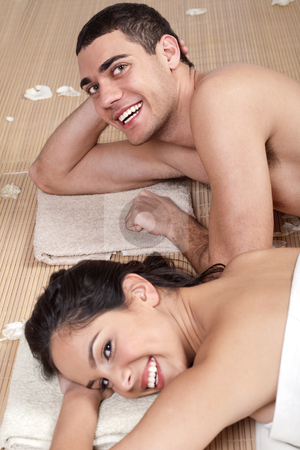 Good looking couple in love during spa stock photo, Good looking couple in love during spa outside by Get4net