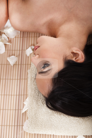 Beautiful woman getting spa treatment stock photo, Beautiful woman getting spa treatment in a resort by Get4net