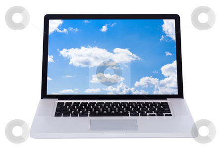 Nature wallpaper displaying in a white laptop screen stock photo, Nature wallpaper displaying in a white laptop screen by Get4net 