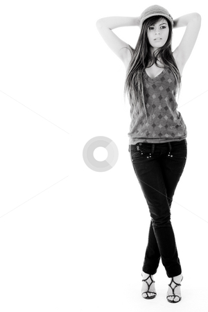 Standing pose of a model with hands folded up stock photo, Standing pose of a model with hands folded up on a isolated background by Get4net 