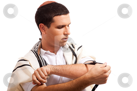 Men praying stock photo, Jewish men put phylactery and smile on isolated background by Get4net