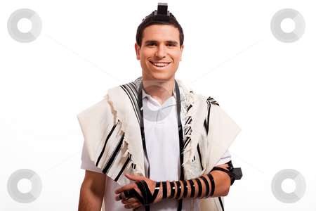 Portrait of happy jewish man smiling stock photo, Portrait of happy jewish man smiling on a white isolated background by Get4net