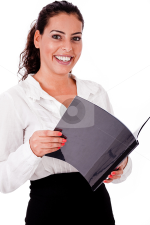 Happy smiling business woman holding folder stock photo, Happy smiling business woman with the files on white isolated background by Get4net