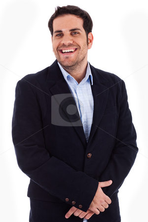 Handsome young business man smiling stock photo, Handsome young business man smiling on a isolated white background by Get4net