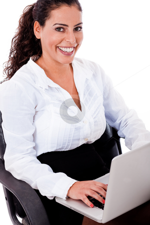 Smiling business woman with laptop stock photo, Smiling business woman with laptop on a white isolated background by Get4net