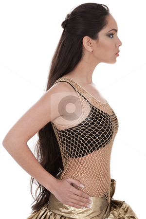 of a belly dancer with long hair stock photo, Side pose of a belly