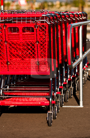 Shopping cart stock photo, Red shopping carts at a shopping center by Jaminson Moses