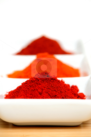 Chili Powder stock photo, Cayenne, New Mexico and Arbol chili powder in a white compartmentalized saucer with a small mortar and Pestle by Lynn Bendickson