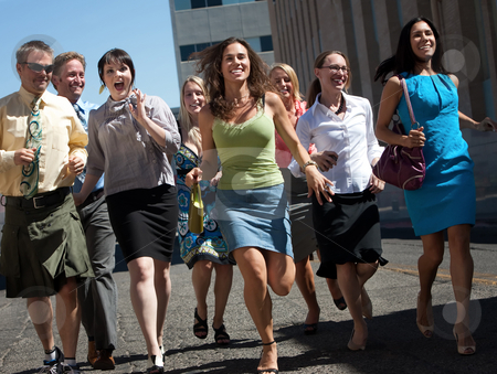 Running makes us happy! stock photo, Happy group of people love to have fun and exercise. by Scott Griessel