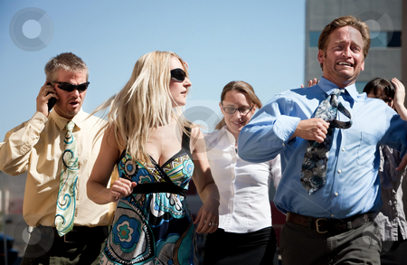 Successful man races to be first stock photo, Group of business workers run to new horizon by Scott Griessel