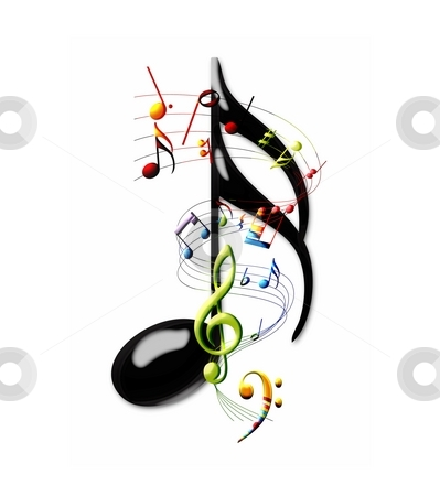 Music stock photo, Multi-colored musical notes and staff swirling around a sixteenth note by Leslie Murray