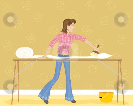 wallpapering. a woman wallpapering with