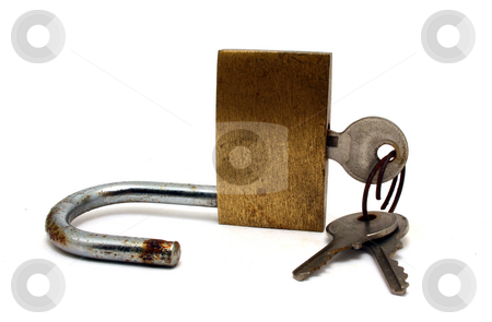 Padlock with keys stock photo, Padlock with keys isolated on white background by Jonathan De Wit
