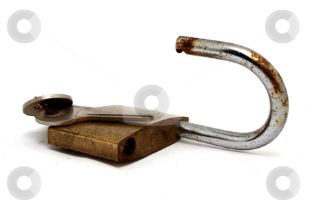 Padlock stock photo, Padlock  and keys isolated on white background by Jonathan De Wit