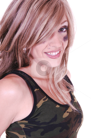 Portrait of a young girl. stock photo, A portrait for a young beautiful woman with brunette hair and eye shadow under her eyes, after playing sports. by Horst Petzold