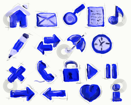 Web icons stock photo, Collection of hand painted icons on whitebackground by J?