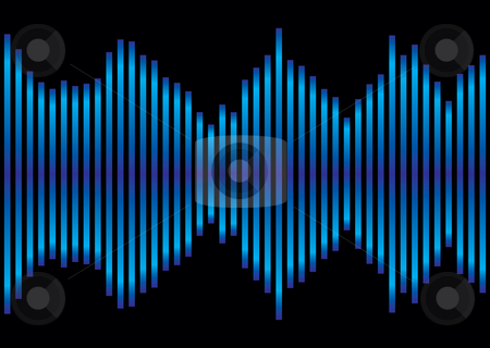 Blue music equaliser stock vector clipart, Music inspired blue and black background equaliser with sound peaks by Michael Travers