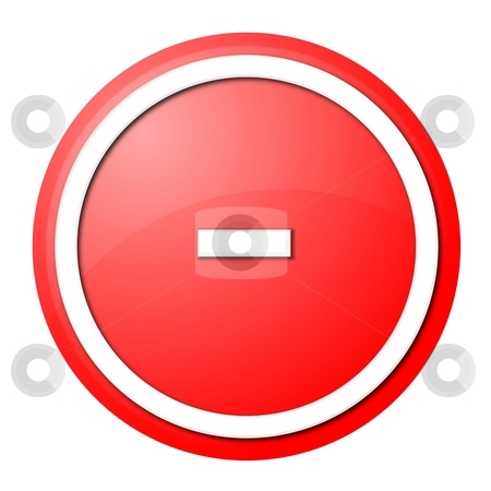 Red  Button Minus stock photo, Round minus button with white ring for web design and presentation by Henrik Lehnerer