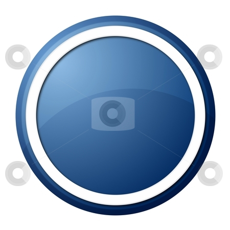 Blue Button stock photo, Round button with white ring for web design and presentation by Henrik Lehnerer
