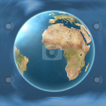 Earth Map Africa on blended mesh background illustration  stock photo, Earth Map Africa on blended mesh background illustration by Celia Anderson