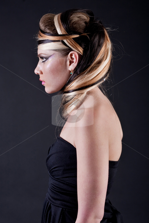 Beautiful girl with make-up stock photo, Beautiful girl with make-up over black background by Get4net