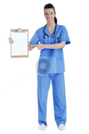 Full length of young nurse pointing blank clipboard stock photo, Full length of young nurse pointing blank clipboard over isolated white background by Get4net