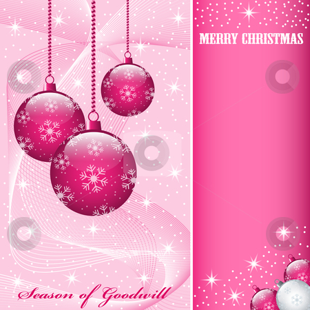 Christmas balls decorations stock vector clipart, Christmas scene with hanging ornamental pink balls, snowflakes, stars and snow. Copy space for text. by toots77
