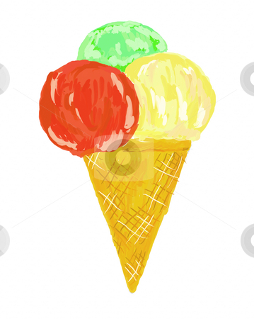 Ice cream stock photo, Painted ice cream on white background by J?