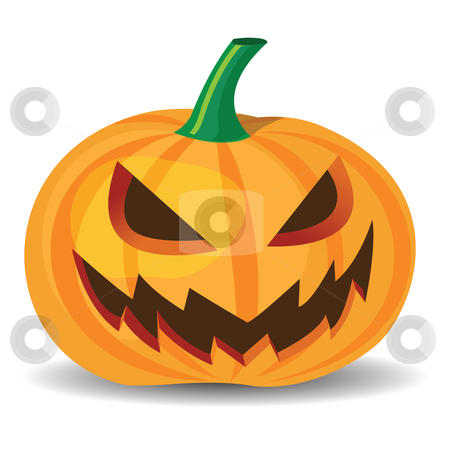 Halloween pumpkin stock vector clipart, Halloween pumpkin with evil grinning, vector format. by Mtkang