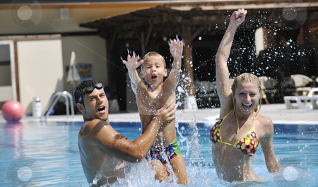... of Images Of On Swimming Pool Stock Photo Happy Young Family Have Fun