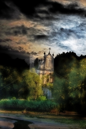 Abandoned church ruins stock photo, Abandoned church ruins with hdr effect near the lake at night. by Fotosutra.com