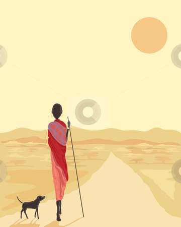 Masai with dog stock vector clipart, A hand drawn illustration of a masai man with his dog walking along a road in africa under the setting sun by Mike Smith