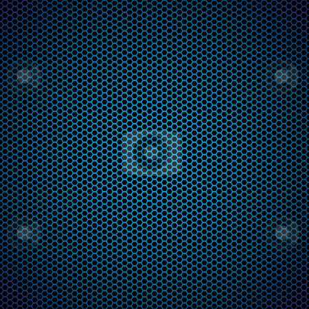 Blue hexagon metal background stock vector clipart, Abstract blue metal hexagon background with honeycomb effect by Michael Travers