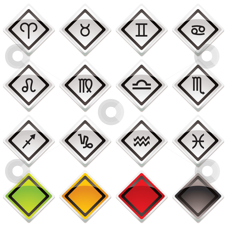 Horoscope icon symbols stock vector clipart, Collection of horoscope symbols with colour variation and shadow by Michael Travers